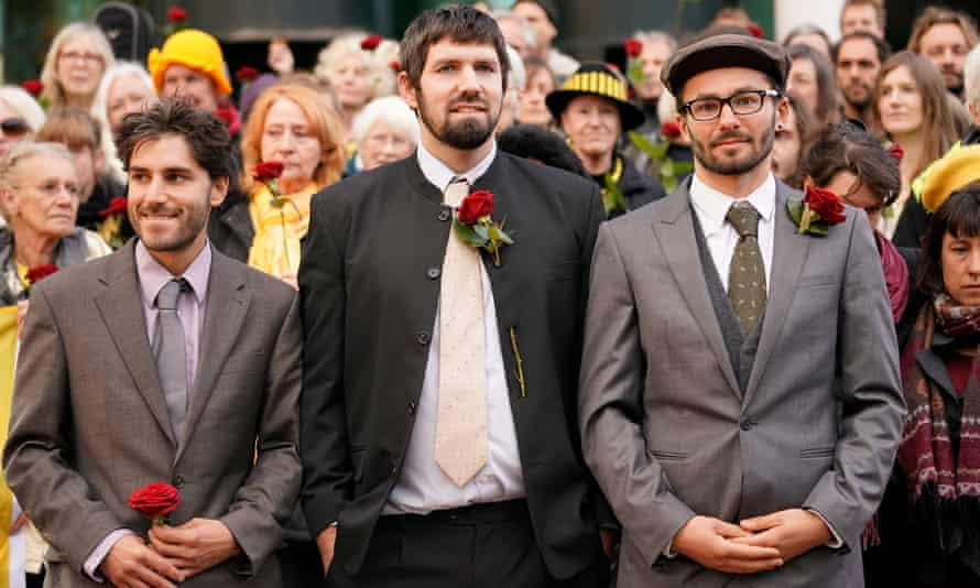 Anti-fracking protesters Rich Loizou (left), Richard Roberts and Simon Roscoe-Blevins await sentence outside court