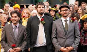 Anti-fracking protesters (L-R) Richard Loizou, Richard Roberts and Simon Roscoe Blevins (outside Preston crown court before their sentencing.