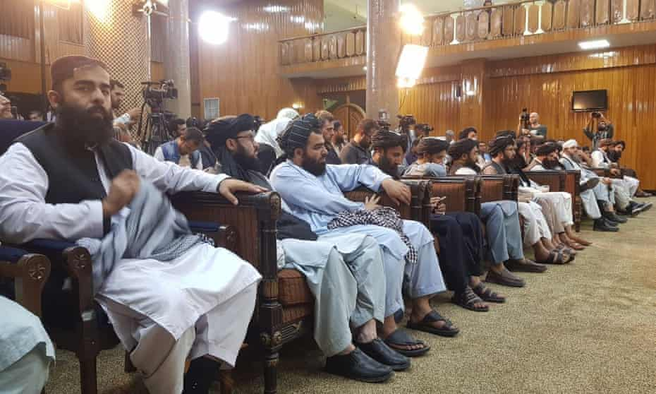 The Taliban press conference where the new government was announced.