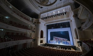 A performance of Bizet's Carmen before empty stalls at the Staatsoper Berlin