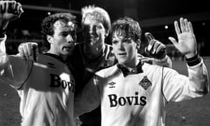 From left: Mike Milligan, goalkeeper Jon Hallworth and Nick Henry celebrate their Littlewoods Cup semi-final win over West Ham.