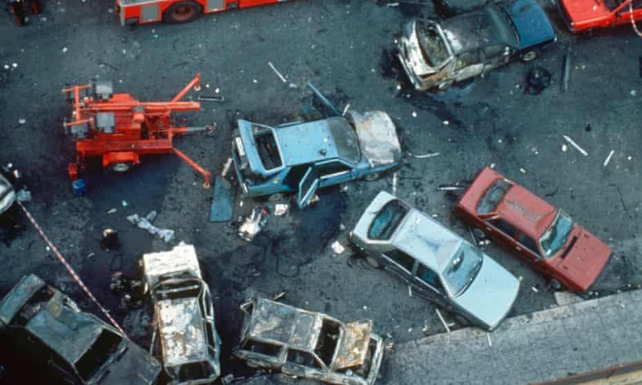 The aftermath of the car bomb which killed anti-mafia judge Paulo Borsellino in Palermo in 1992.