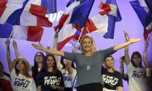 Marine Le Pen with supporters.