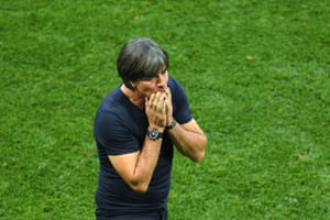 Joachim Loew, manager of Germany, looks horrified.