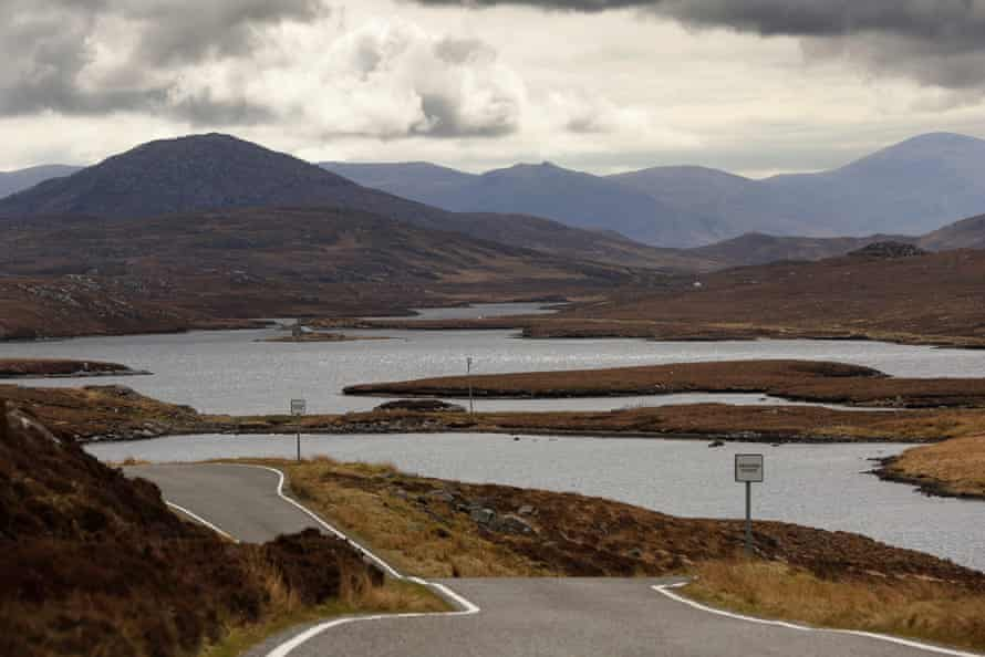 A single track road with passing places. Bearnaraigh or Bernera island looking to Uig.