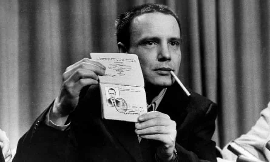 Vladimir Bukovsky showing his Soviet passport on arrival at Heathrow Airport, 1977.