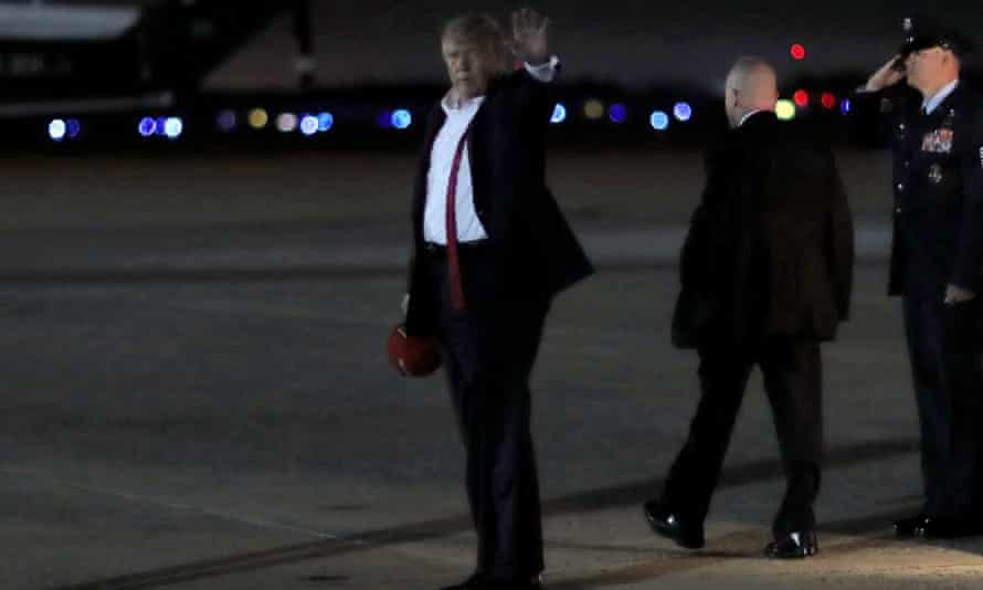 Donald Trump departs Air Force One after holding a campaign rally in Tulsa.
