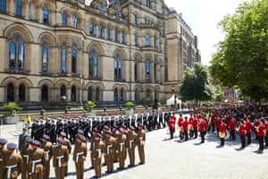 A military parade in Manchester's Albert Square