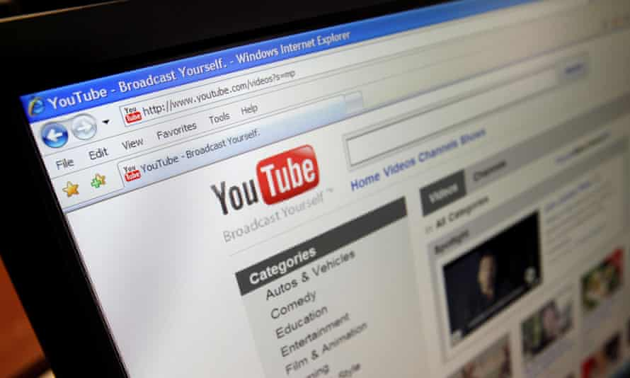A computer screen showing the YouTube site
