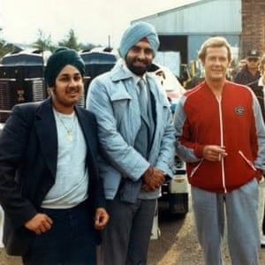 Del Singh enjoying his time on the set of Octopussy with Kabir Bedi and Roger Moore.