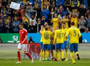 Sweden players celebrate a goal against Wales in their recent 3-0 friendly win