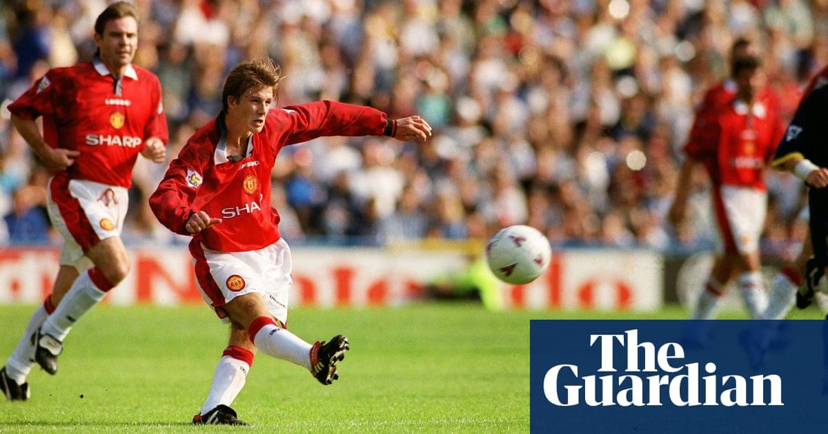 1cd29347bb3 Golden Goal  David Beckham for Manchester United against Wimbledon ...