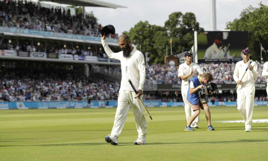 Moeen Ali acknowledges the applause from the crowd as he leads England off the field following his 10-wicket haul at Lord's