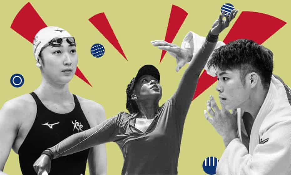 Rikako Ikee (left), Naomi Osaka (centre) and Double World champion, Hifumi Abe.