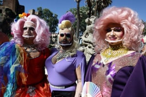 Rome, Italy. Costumed revellers strike a pose