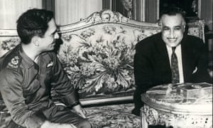 King Hussein of Jordan (left) and President Nasser meeting in Cairo, May 1967.