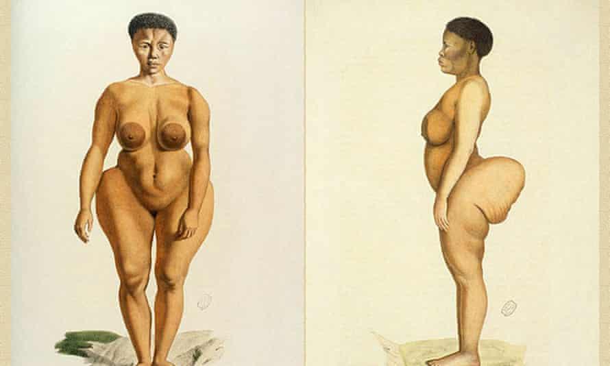 An illustration of Saartjie 'Sarah' Baartman during her time in Europe.
