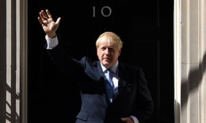 Boris Johnson gestures after giving a speech outside 10 Downing Street