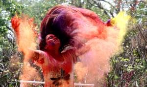 Dynamic shot of girl tossing hair