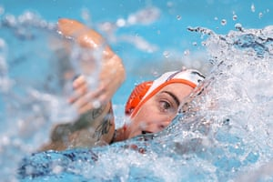 A member of the Netherlands water polo team during their women's preliminary round group game against Canada.