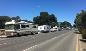 RVs along El Camino Real in Palo Alto.