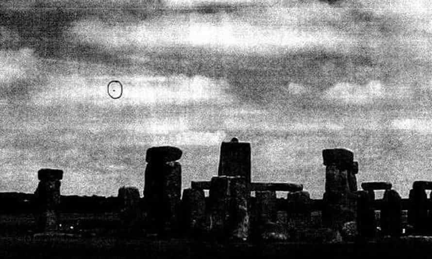 Photograph released by the National Archives apparently showing a UFO by Stonehenge.