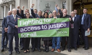 Unison members celebrate victory outside the supreme court.