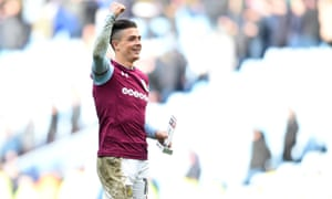 Jack Grealish picks up his man of the match award after the Birmingham derby earlier this month.