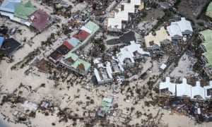 Storm damage in the aftermath of Hurricane Irma, in St Maarten.