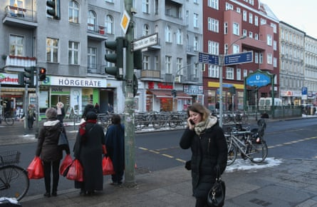 Karl Marx Strasse shopping street in ethnically diverse Neukölln district of Berlin.