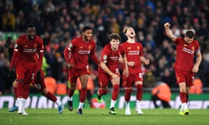 Liverpool's Divock Origi, Joe Gomez, Neco Williams, Harvey Elliott and James Milner of Liverpool celebrate victory after Curtis Jones slots home their fifth penalty.