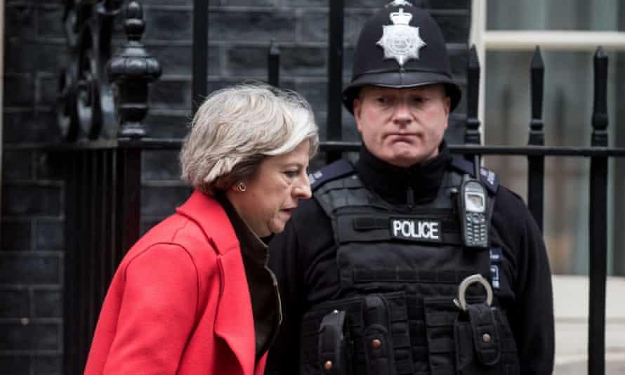 Theresa May outside 10 Downing Street, London.