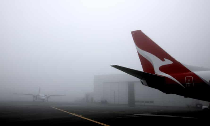 Planes in heavy fog at Adelaide airport.