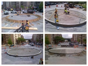 A roundabout being constructed at Intervale Avenue and Dawson Street in the Bronx, New York City.
