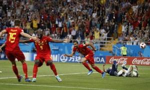 Belgium's Nacer Chadl celebrates after slotting home.