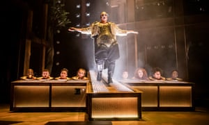 Bold and shiny … Samuel Buttery as Herod in Jesus Christ Superstar at the Barbican, London.