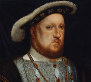 A crop of the portrait of Henry VIII by Hans Holbein the Younger, showing at the Bendigo Art Gallery.