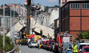 The emergency services and collapsed Morandi bridge