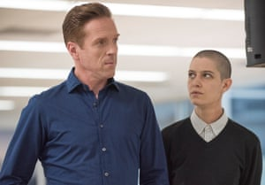 'The hedge fund industry is under attack!' Lewis as Axelrod with Taylor (Asia Kate Dillon).