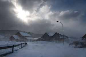 Snow-clad houses in Mouthe