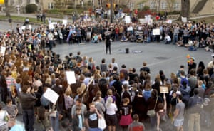 Hundreds attend a rally in Chapel Hill, North Carolina to protest the recent passage of HB2.