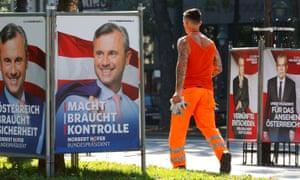 Campaign posters for Norbert Hofer and Alexander Van der Bellen in Vienna.