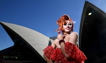 Indigenous drag queen Josie Baker poses in front of the Sydney Opera House as part of the city's bid for the 2023 WorldPride event, expected to attract a million visitors and world-class talent.
