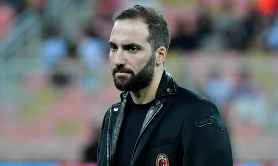 Gonzalo Higuaín on the pitch before the Italian Supercoppa between his parent club, Juventus, and his current club Milan in Saudi Arabia on Wednesday.