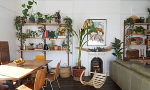 'Earthy tones, second-hand furniture, natural fabrics and abundant plant life fill the space with warmth and character': the living-dining room.