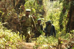 Park rangers carrying out an anti-poaching patrol in Kahuzi-Biega national park.
