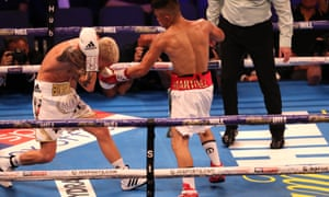 Julio Martinez (right) was denied victory over Charlie Edwards at the O2 Arena when a late punch by Martinez was seen on replays after the end of the fight.