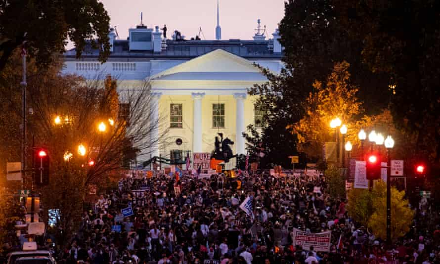 Supporters of Joe Biden gathering near the White House to celebrate after he was declared winner of the 2020 presidential election on 7 November.