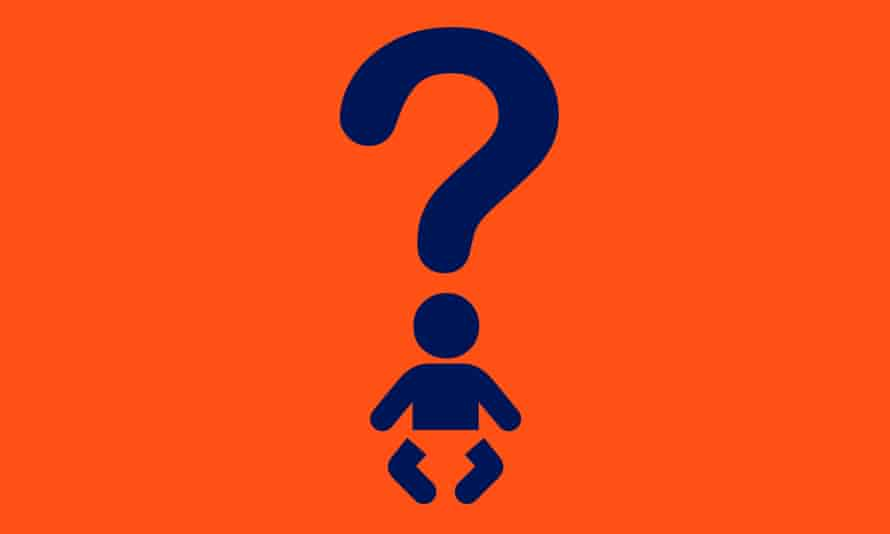Illustration of question mark and baby
