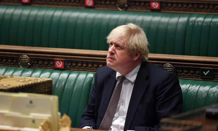 Prime Minister Boris Johnson during the PMQs in the House of Commons in London.